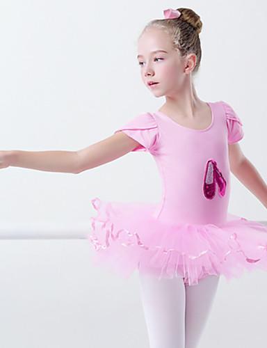 billige Ballettantrekk-Ballet Kjole Skerfer / Bånd Appliqué Jente Trening Ytelse Kortermet Elastan Lycra