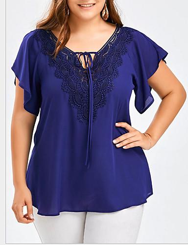 billige T-skjorter til damer-Tynn V-hals Store størrelser T-skjorte Dame - Ensfarget Grunnleggende Gul