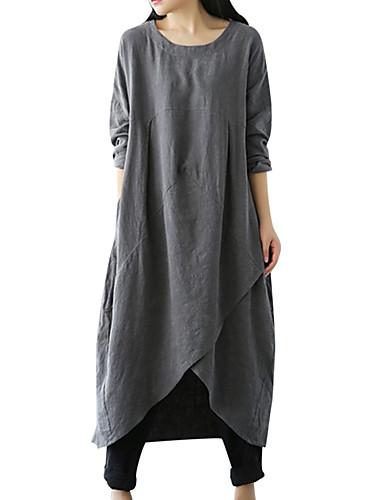 levne Maxi šaty-Dámské Větší velikosti Základní Volné Tunika Šaty - Jednobarevné Asymetrické