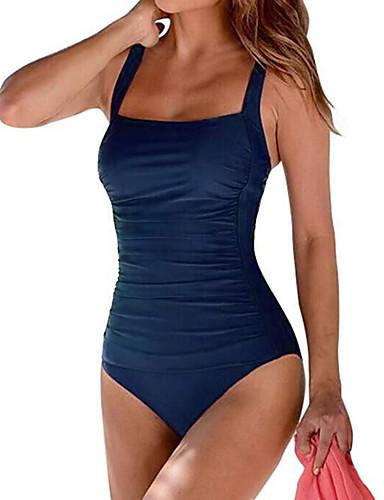 billige Bikinier og damemote-Dame Sporty Grunnleggende Med stropper Svart Vin Marineblå Trekant Cheeky En del Badetøy - Ensfarget Åpen rygg L XL XXL Svart / Super Sexy