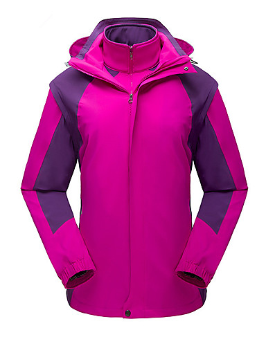 cheap Softshell, Fleece & Hiking Jackets-Women's Hiking Jacket Winter Outdoor Patchwork Thermal / Warm Windproof UV Resistant Breathable 3-in-1 Jacket Top Elastane Single Slider Outdoor Exercise Multisport Snowsports Purple / Army Green