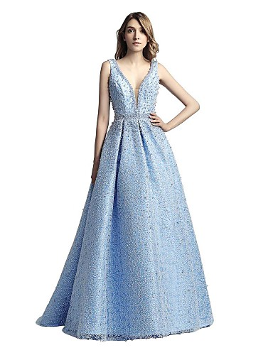 acfdb9ba5cb57 In Stock Ship In 24 Hours A-Line V Neck Sweep / Brush Train Lace Sparkle &  Shine Formal Evening Dress with Beading by LAN TING Express 7070246 2019 –  ...