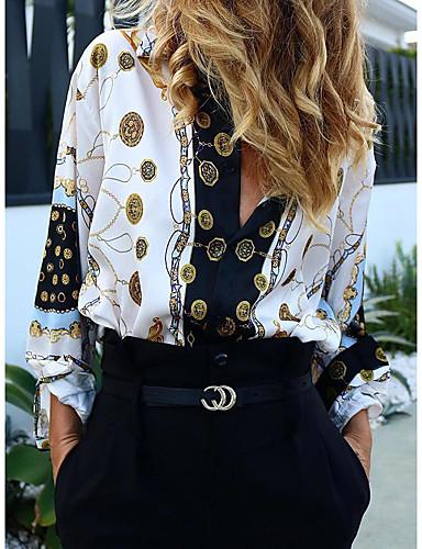 billige Dametopper-Oversized Skjortekrage Skjorte Dame - Ruter / Tribal, Trykt mønster Grunnleggende / Gatemote Arbeid Regnbue