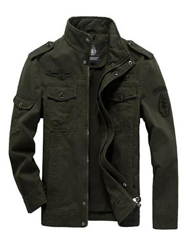 preiswerte Normale Jacken-Herrn Alltag / Wochenende Grundlegend Herbst / Winter Standard Jacke, Solide Ständer Langarm Baumwollmischung Schwarz / Armeegrün / Khaki