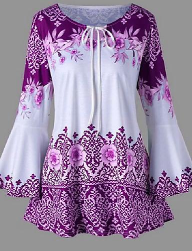 billige T-skjorter til damer-Store størrelser T-skjorte Dame - Geometrisk, Blomster / Trykt mønster Gatemote Rød / Vår / Sommer / Høst / Vinter