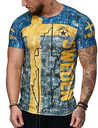 preiswerte Einfarbig-Herrn Grundlegend / Street Schick Übergrössen Baumwolle T-shirt, Rundhalsausschnitt Schlank Druck Blau / Kurzarm