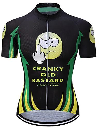 cheap Cycling-Men's Short Sleeve Cycling Jersey Summer Coolmax® Black / Green Cartoon Bike Jersey Top Mountain Bike MTB Road Bike Cycling Quick Dry Moisture Wicking Back Pocket Sports Clothing Apparel / Stretchy