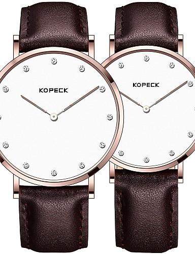 Kopeck Par je Ručni satovi s mehanizmom za navijanje digitalni sat Japanski Japanski kvarc odgovarajući Njegova i Njezina Prava koža Crna / Smeđa / Čokolada 30 m Vodootpornost Casual sat Analog