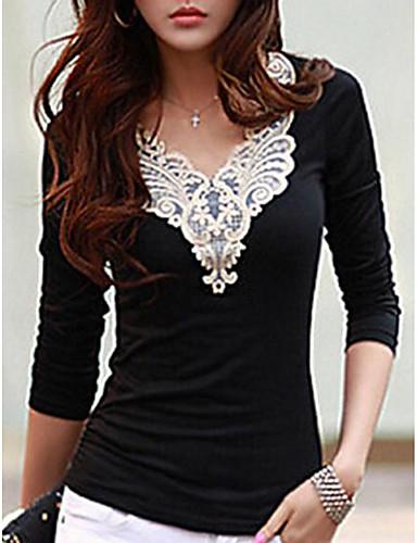 preiswerte Damen-Oberteile-Damen Stickerei Ausgehen T-shirt, V-Ausschnitt Schwarz & Weiß Weiß