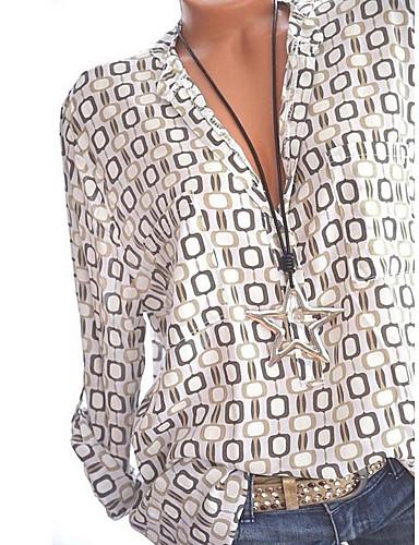 billige Dametopper-Skjortekrage Store størrelser Skjorte Dame - Geometrisk, Trykt mønster Grunnleggende Hvit