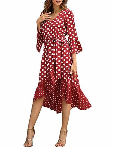 d110031b40a Women s Plus Size Daily Club Street chic Chiffon Dress - Polka Dot Print V  Neck Summer White Black Red M L XL 7055968 2019 –  19.52