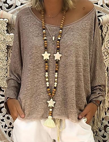 Veći konfekcijski brojevi Majica s rukavima Žene - Osnovni Dnevno Jednobojni V izrez Blushing Pink