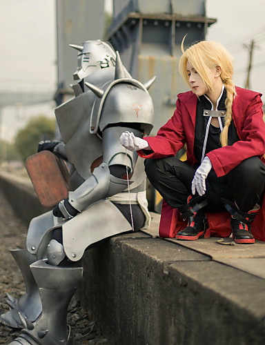 povoljno Anime cosplay-Inspirirana Fullmetal Alchemist Edward Elric Anime Cosplay nošnje Japanski Cosplay Suits Kolaž Dugih rukava Kaput / Mellény / Hlače Za Muškarci / Plašt