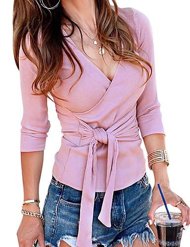billige Skjorter til damer-V-hals Skjorte Dame - Ensfarget Grunnleggende Rosa / Sexy