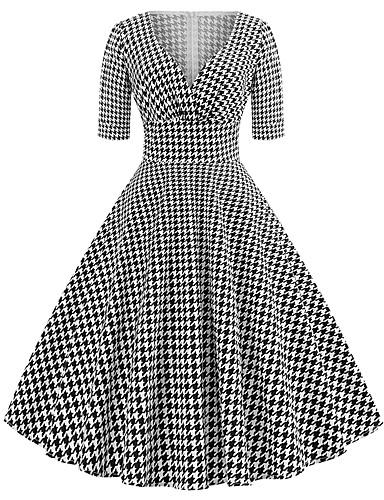 Žene Party Izlasci Vintage 1950-te Ulični šik Pamuk A kroj Haljina - Print, Houndstooth V izrez Midi Crno-bijela / Sexy