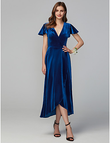 cheap Free Shipping-A-Line V Neck Asymmetrical Velvet Bridesmaid Dress with Split Front