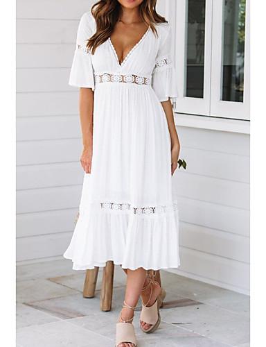 preiswerte Weiße und Schwarze Kleider-Damen Strand Aufflackern-Hülsen- Swing Kleid Solide Midi V-Ausschnitt / Sexy