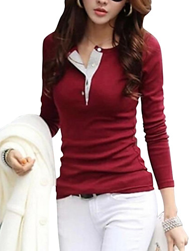 preiswerte Helle farbige Tops-Damen Solide - Freizeit / Street Schick Baumwolle T-shirt Fuchsia / Frühling / Herbst / Winter