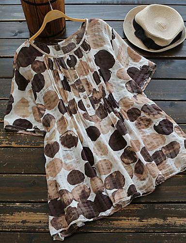 billige T-skjorter til damer-Bomull Store størrelser T-skjorte Dame - Geometrisk Grunnleggende Brun