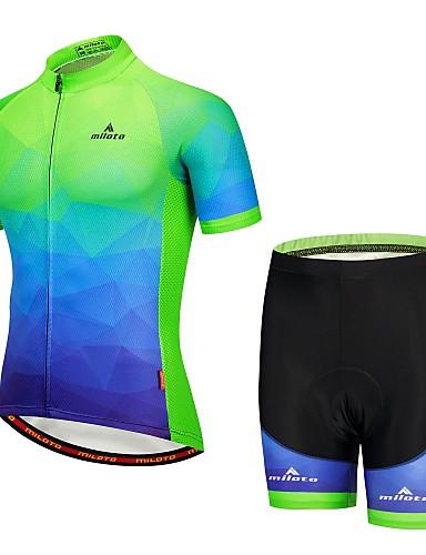 povoljno Odjeća za vožnju biciklom-Miloto Muškarci Kratkih rukava Biciklistička majica s kratkim hlačama Tamno plava Bicikl Podstavljene kratke hlače Sportska odijela Reflektirajuće trake Sportski Brdski biciklizam Odjeća