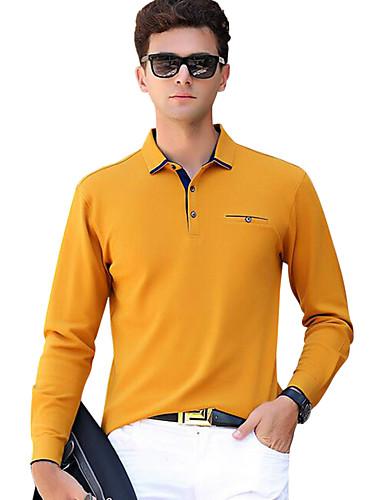 levne Pánská polo trika-Pánské - Jednobarevné Aktivní Polo, Základní Bavlna Košilový límec Štíhlý Šedá / Dlouhý rukáv