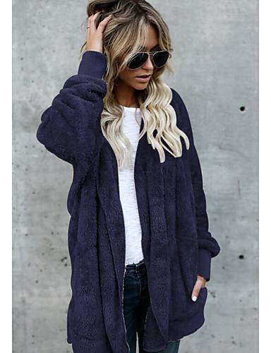 levne Dámské kabáty a trenčkoty-Dámské Denní Základní Větší velikosti Standardní Bunda, Jednobarevné Kapuce Dlouhý rukáv Polyester Armádní zelená / Khaki / Námořnická modř