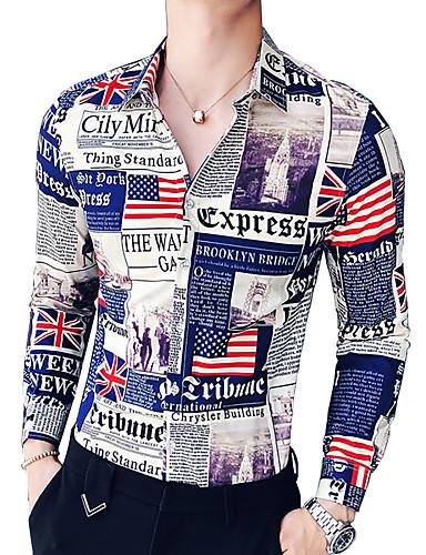 voordelige Herenoverhemden-Heren Militair Overhemd Letter Klassieke boord Slank blauw / Lange mouw / Zomer