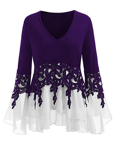 preiswerte Top taglie forti da Donna-Damen Einfarbig Übergrössen T-shirt, V-Ausschnitt Purpur