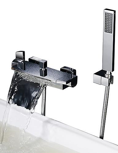 preiswerte Seitendüse-Duscharmaturen / Badewannenarmaturen - Moderne Chrom Badewanne & Dusche Keramisches Ventil Bath Shower Mixer Taps / Zwei Griffe Zwei Löcher