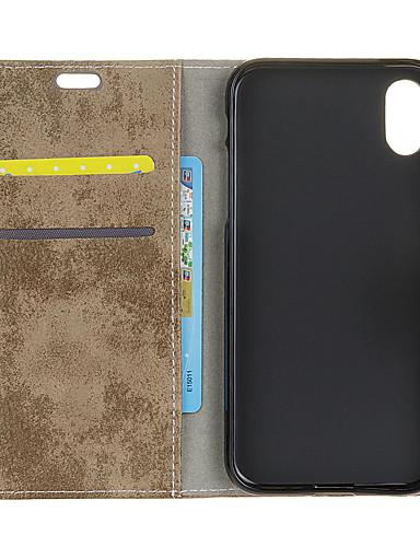 Θήκη Za Apple iPhone XS / iPhone X Novčanik / Utor za kartice / Zaokret Stražnja maska Jednobojni Tvrdo PU koža