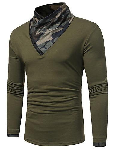 preiswerte Militär-Herrn camuflaje - Street Schick T-shirt, Rollkragen Weiß / Langarm