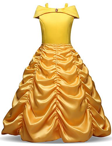 preiswerte Baby & Kinder-Kinder Baby Mädchen Retro Süß Weihnachten Festtage Solide Gefaltet Langarm Midi Kleid Gelb