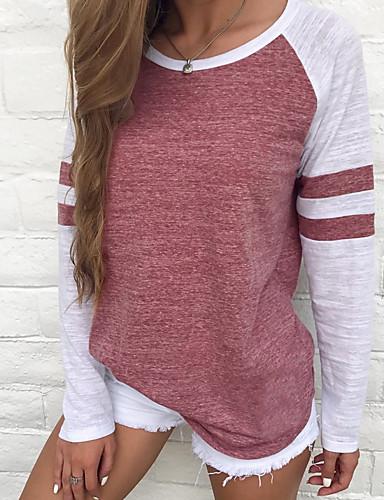 billige T-skjorter til damer-Store størrelser T-skjorte Dame - Fargeblokk, Stripe / Grunnleggende Grunnleggende Rød / Vår / Sommer / Høst / Vinter