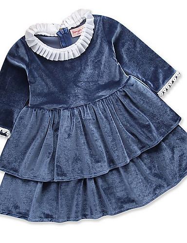 Djeca Djevojčice Osnovni Jednobojni Dugih rukava Haljina Navy Plava