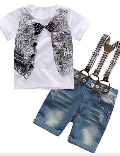 Djeca Dječaci Aktivan Ulični šik Dnevno Izlasci Print Mašna Kratkih rukava Regularna Komplet odjeće Obala