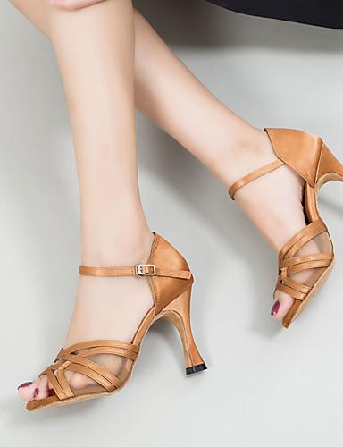 cheap 11.11 - Latin Shoes Under $30-Women's Dance Shoes Satin Latin Shoes Buckle Sandal / Sneaker Slim High Heel Customizable Brown / Performance / Leather / EU37