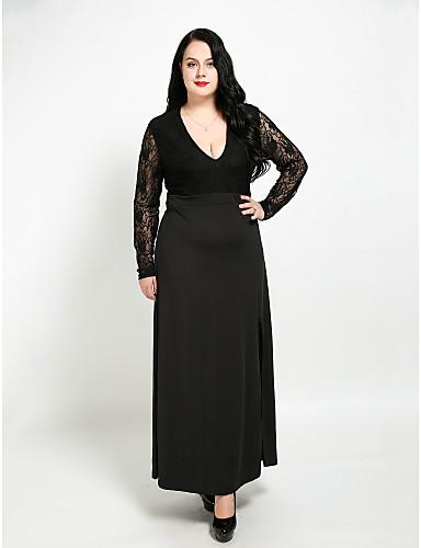 levne Šaty velkých velikostí-Dámské Větší velikosti Bavlna A Line Šaty - Patchwork, Krajka Maxi Do V