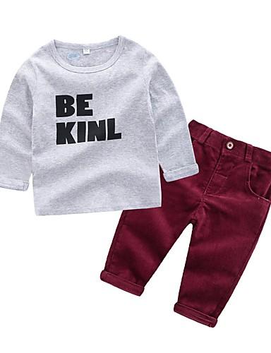Dijete Dječaci Osnovni Dnevno Jednobojni Dugih rukava Regularna Pamuk Komplet odjeće Sive boje / Dijete koje je tek prohodalo