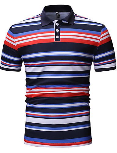 Polo Muškarci - Osnovni / Ulični šik Sport / Rad Color block Kragna košulje Print Navy Plava / Kratkih rukava