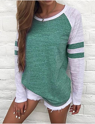 billige Dametopper-Store størrelser T-skjorte Dame - Fargeblokk, Stripe / Grunnleggende Grunnleggende Rød / Vår / Sommer / Høst / Vinter