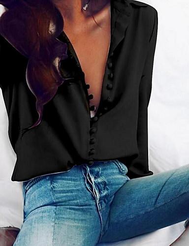 billige Dametopper-Bomull Tynn V-hals Skjorte Dame - Ensfarget, Knapp Grunnleggende Svart