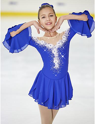 Sports & Outdoor Clothing 120 Skating Dress Figure Skating Fleece Jacket Womens Girls Ice Skating Tracksuit Clothing Suits White Purple Fuchsia Sky Blue Stretchy Performance Dresses