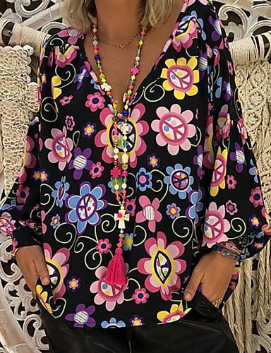 billige Dametopper-Skjortekrage Store størrelser Bluse Dame - Blomstret / Trykt mønster / Mote, Tropisk Grunnleggende Svart / Vår / Sommer / Høst / Vinter