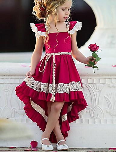 preiswerte Baby & Kinder-Kinder Mädchen Street Schick Party Solide Spitze Ärmellos Asymmetrisch Kleid Rote