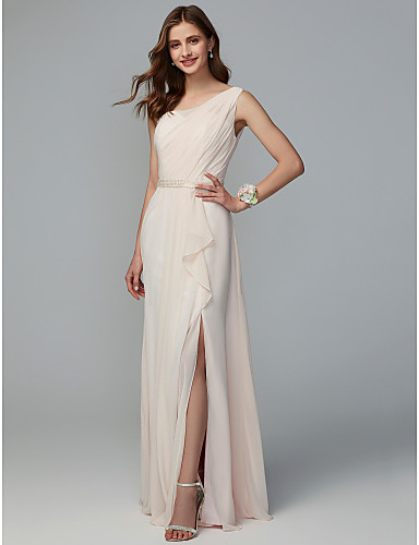 ae2c45bbf34 A-Line One Shoulder Floor Length Chiffon Bridesmaid Dress with Split Front    Pleats by LAN TING BRIDE® 6893903 2019 –  109.99