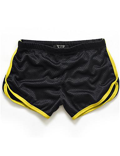 billige Shorts-Herre Sporty / Aktiv Sport Avslappet Tynn / Shorts Bukser - Ensfarget / Fargeblokk Sommer Gul Lyseblå Marineblå XL XXL XXXL