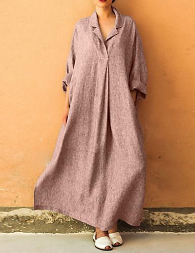 levne Maxi šaty-Dámské Větší velikosti Elegantní Volné Velkoformátové Abaya Šaty - Jednobarevné Maxi Košilový límec