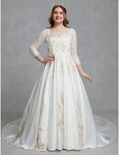 cheap Wedding Dresses-A-Line Scoop Neck Court Train Lace / Satin Long Sleeve Romantic / Glamorous See-Through / Illusion Sleeve Wedding Dresses with Lace 2020