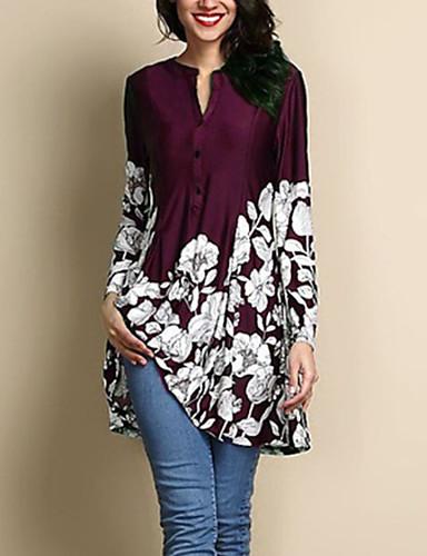 billige Dametopper-Store størrelser Bluse Dame - Blomstret Navyblå