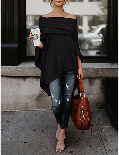 billige Dametopper-Løse skuldre T-skjorte Dame - Ensfarget Klubb Beige